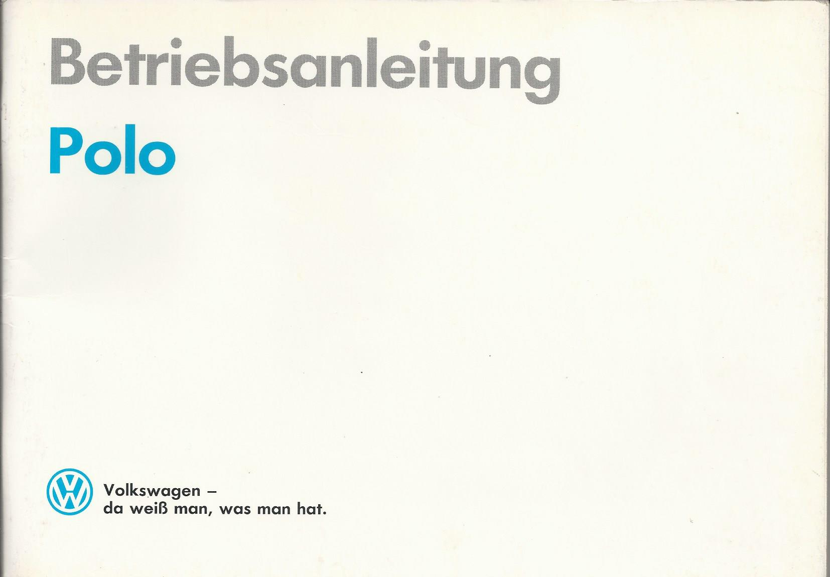 vw polo 2 bedienungsanleitung handbuch 1990 betriebsanleitung ba ebay. Black Bedroom Furniture Sets. Home Design Ideas