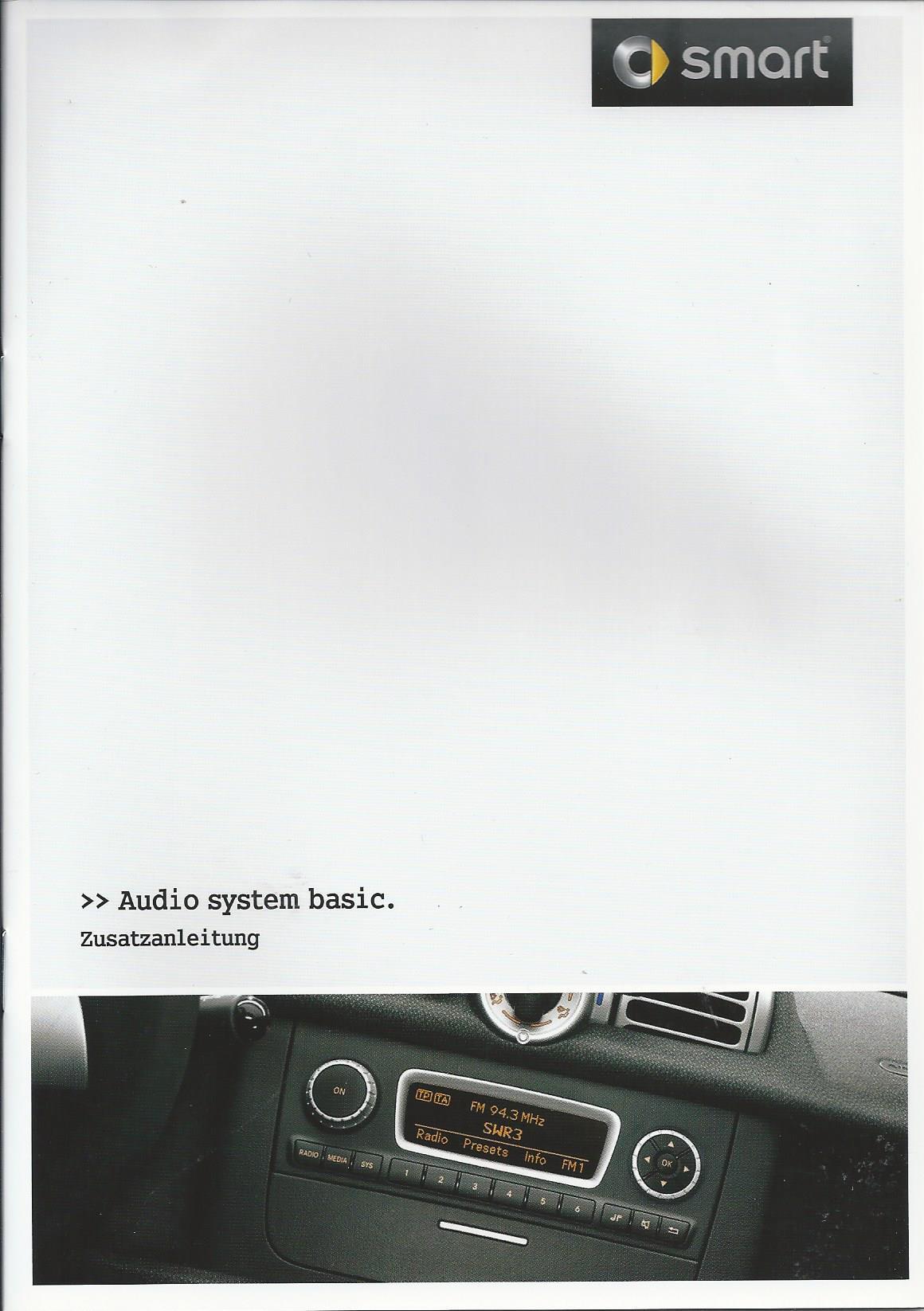 smart audio system basic 2012 betriebsanleitung handbuch bordbuch rn ebay. Black Bedroom Furniture Sets. Home Design Ideas