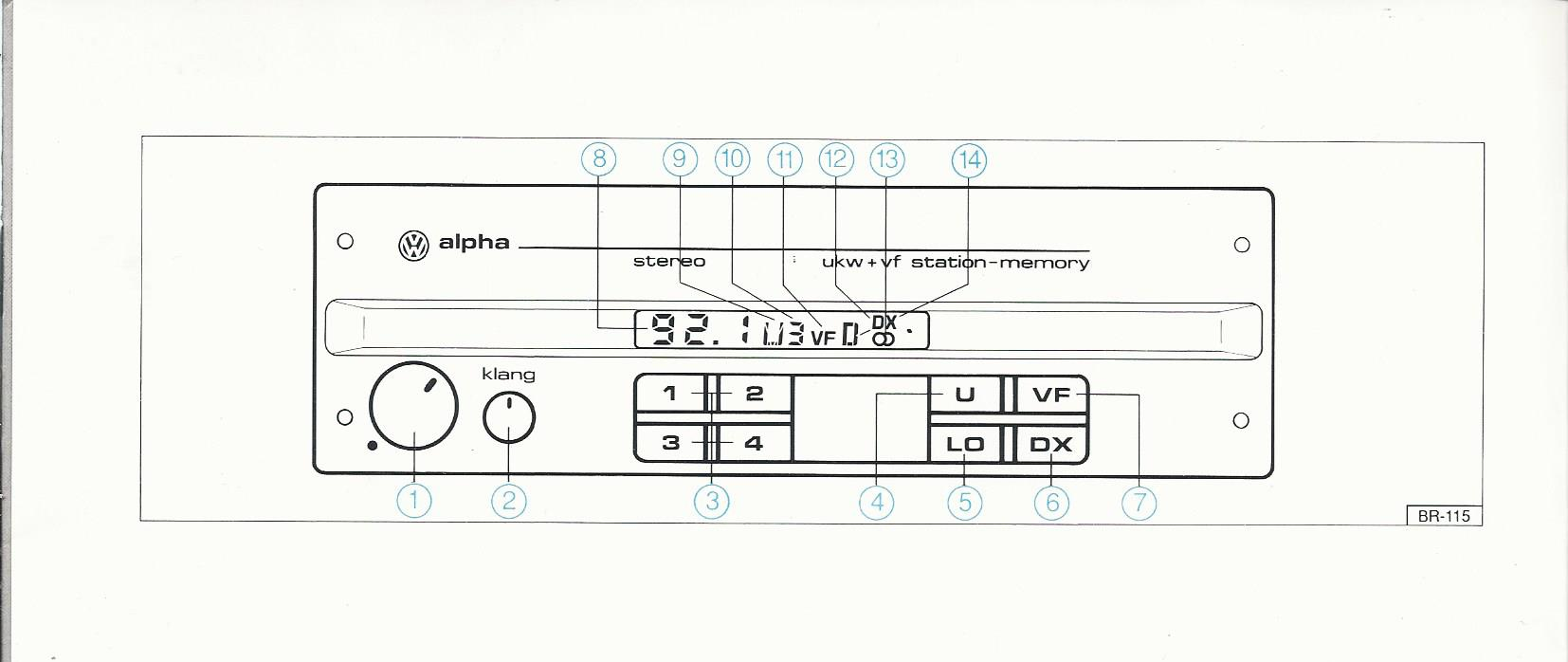 vw radio alpha betriebsanleitung 1991 bedienungsanleitung. Black Bedroom Furniture Sets. Home Design Ideas